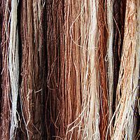 Asia, China, Suzhou. Brown shades of silk threads.