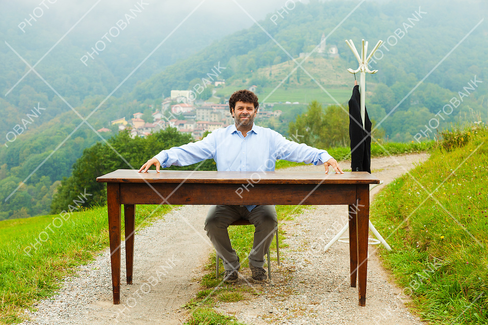 office outdoors, hill