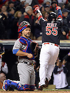 CLEVELAND, OH - OCTOBER 25: Roberto Perez #55 of the Cleveland Indians points to the crowd after crossing home plate after hitting a solo home run in the fourth inning during Game 1 of the 2016 World Series against the Chicago Cubs at Progressive Field on Tuesday, October 25, 2016 in Cleveland, Ohio. (Photo by Ron Vesely/MLB Photos via Getty Images)
