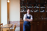 Chef Stephen Toman, head chef and owner of OX Restaurant, standing in Ox in Belfast, Northern Ireland