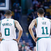 10 February 2013: Boston Celtics point guard Avery Bradley (0) is seen next to Boston Celtics shooting guard Courtney Lee (11) during the Boston Celtics 118-114 3OT victory over the Denver Nuggets at the TD Garden, Boston, Massachusetts, USA.