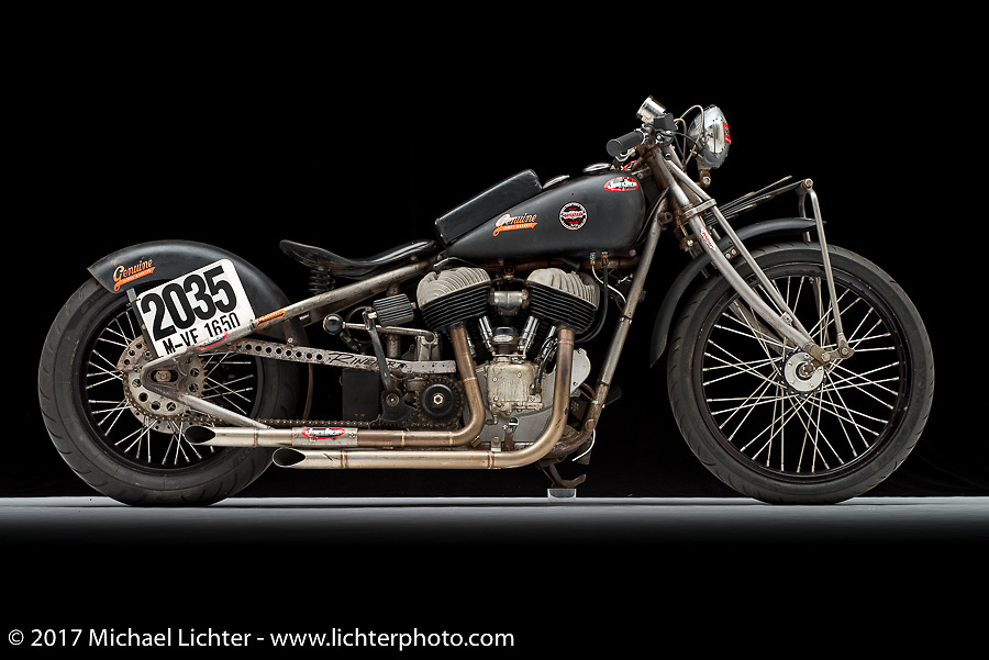 A drag racer built from a 1947 Indian Chief flathead by Ross Tomas of Kiwi Indian Motorcycles in Riverside, CA. Photographed by Michael Lichter in Sturgis, SD on August 2 2017. ©2017 Michael Lichter.