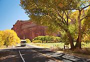 Car driving in Capitol Reef National Park, Utah, United States of America
