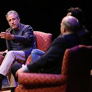 Director Jon Stewart (L) and Iranian Canadian journalist Maziar Bahari speak with Professor Mark Danner at the Berkeley Repertory Theatre about the film Rosewater, on Tuesday, Oct 21, 2004. (Photo/Alex Menendez/ UC Berkeley Graduate School of Journalism)