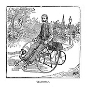 Velociman [hand operated tricycle] From Wheels and Wheeling; An indispensable handbook for cyclists, with over two hundred illustrations by Porter, Luther Henry. Published in Boston in  1892