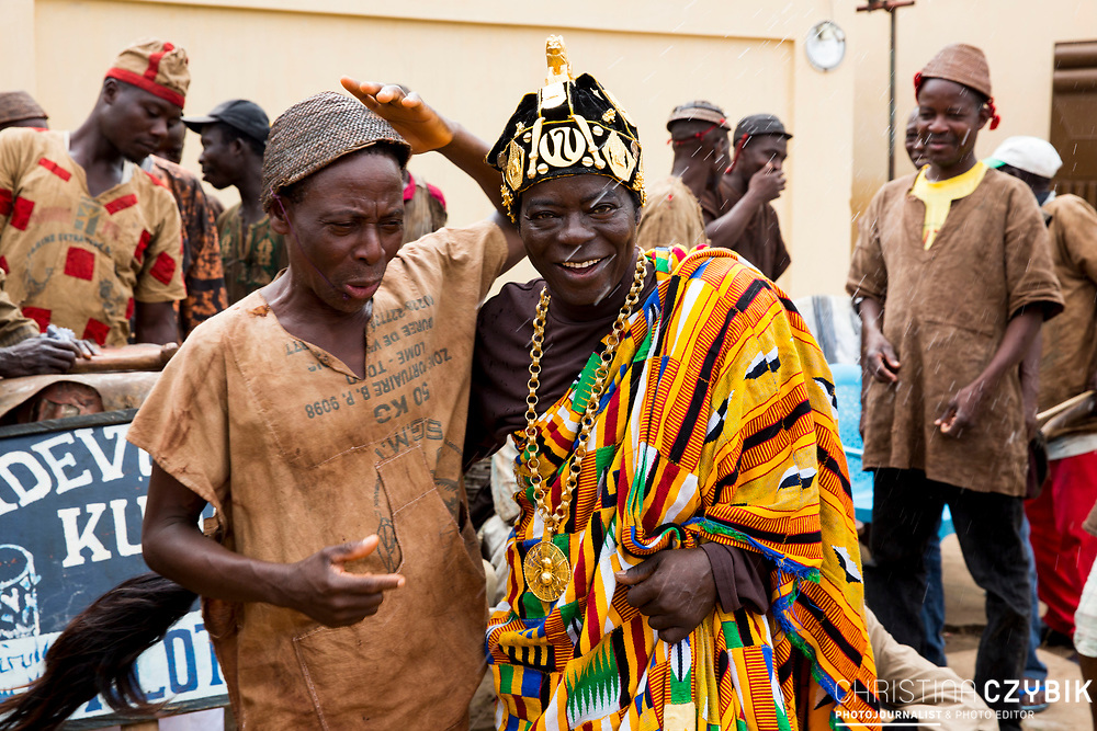 King Cephas Bansah dances with a Voodoo group in front of the home of Ewefiaga Togbui Agboli K.F.Agokoli IV (King of the Ewe) <br /> <br /> Day 2 of the Agbogboza Festival in Notse, Togo on September 2nd, 2016<br /> <br /> ***Togbe Ngoryifia Cephas Kosi Bansah of Gbi Traditional Area Hohoe Ghana and Traditional, Spiritual and Honorable King of the Ewes and his wife, Queen Mother Gabriele Akosua Bansah Ahado Hohoe Ghana***