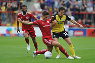 Scunthorpe United Midfielder, Josh Morris (11) battles for possession  during the EFL Sky Bet League 1 match between Accrington Stanley and Scunthorpe United at the Fraser Eagle Stadium, Accrington, England on 1 September 2018.