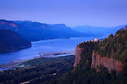 USA, Oregon, Columbia Gorge, Chanticleer Point, a Vista House in the post sunset twilight, traffic on I84 beneath