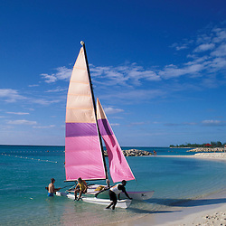 Princess Cays, Bahamas.Sailboats on the beach at Princess Cays in the Bahamas.