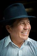 Portrait of Jose Luis Fichamba . A traditional musician and instrument maker, Peguche , Otavalo, Ecuador, South America
