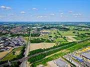 Nederland, Gelderland, Gemeente Zevenaar, 14–05-2020; Logistics Center Zevenaar aan Rijksweg A12 (richting Duitse grens). Kruising spoorlijn naar Doetinchem<br /> <br /> luchtfoto (toeslag op standaard tarieven);<br /> aerial photo (additional fee required)<br /> copyright © 2020 foto/photo Siebe Swart