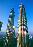 The Petronas Towers in Kuala Lumpur, designed by architect Cesar Peli are the world's tallest buildings.