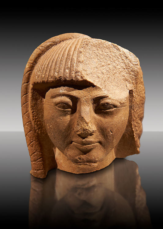 Ancient Egyptian quartz statue head of prince Khaemwase, son of Pharaoh  Rameses II. 19th Dynasty Ancient Egypt, 1260 BC . Neues Museum Berlin Cat No: AM 13460. .<br /> <br /> If you prefer to buy from our ALAMY PHOTO LIBRARY  Collection visit : https://www.alamy.com/portfolio/paul-williams-funkystock/ancient-egyptian-art-artefacts.html  . Type -   Neues    - into the LOWER SEARCH WITHIN GALLERY box. Refine search by adding background colour, subject etc<br /> <br /> Visit our ANCIENT WORLD PHOTO COLLECTIONS for more photos to download or buy as wall art prints https://funkystock.photoshelter.com/gallery-collection/Ancient-World-Art-Antiquities-Historic-Sites-Pictures-Images-of/C00006u26yqSkDOM