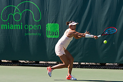 March 22, 2018 - Key Biscayne, FL, U.S. - KEY BISCAYNE, FL - MARCH 22: Yafan Wang (CHN) in action on Day 4 of the Miami Open on March 22, 2018, at Crandon Park Tennis Center in Key Biscayne, FL. (Photo by Aaron Gilbert/Icon Sportswire) (Credit Image: © Aaron Gilbert/Icon SMI via ZUMA Press)