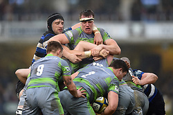 Luke Charteris of Bath Rugby and Glen Young of Newcastle Falcons in action at a maul - Mandatory byline: Patrick Khachfe/JMP - 07966 386802 - 27/01/2018 - RUGBY UNION - The Recreation Ground - Bath, England - Bath Rugby v Newcastle Falcons - Anglo-Welsh Cup