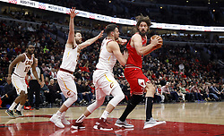 January 27, 2019 - Chicago, IL, USA - Chicago Bulls center Robin Lopez (42) looks to score against Cleveland Cavaliers center Ante Zizic (41) in the fourth quarter on Sunday, Jan. 27, 2019 at the United Center in Chicago, Ill. The Cavaliers defeated the Bulls, 104-101. (Credit Image: © Brian Cassella/Chicago Tribune/TNS via ZUMA Wire)