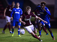 George Smith of Northampton Town © in action with Jamal Lowe of Portsmouth  chasing.. EFL Skybet Football League one match, Northampton Town v Portsmouth at the Sixfields Stadium in Northampton on Tuesday 12th September 2017. <br /> pic by Bradley Collyer, Andrew Orchard sports photography.
