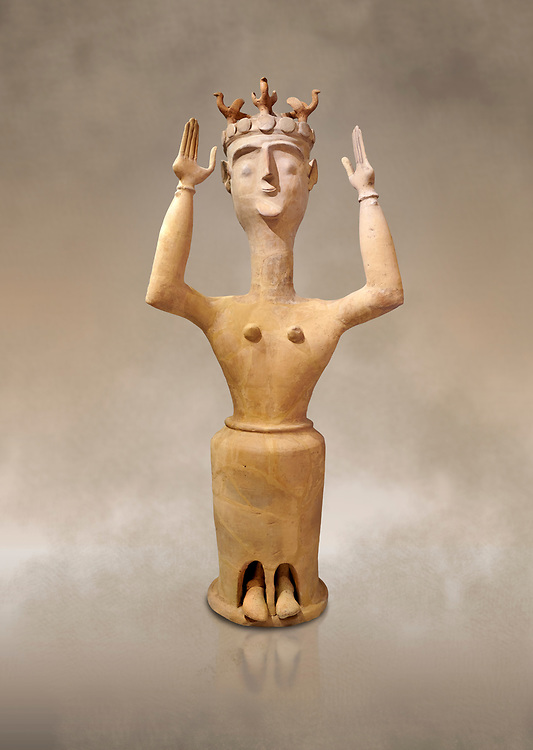 Minoan Postpalatial terracotta  goddess statue with raised arms and bird crown,  Karphi Sanctuary 1200-1100 BC, Heraklion Archaeological Museum. <br /> <br /> The Goddesses are crowned with symbols of earth and sky in the shapes of snakes and birds, describing attributes of the goddess as protector of nature. .<br /> <br /> If you prefer to buy from our ALAMY PHOTO LIBRARY  Collection visit : https://www.alamy.com/portfolio/paul-williams-funkystock/minoan-art-artefacts.html . Type -   Heraklion   - into the LOWER SEARCH WITHIN GALLERY box. Refine search by adding background colour, place, museum etc<br /> <br /> Visit our MINOAN ART PHOTO COLLECTIONS for more photos to download  as wall art prints https://funkystock.photoshelter.com/gallery-collection/Ancient-Minoans-Art-Artefacts-Antiquities-Historic-Places-Pictures-Images-of/C0000ricT2SU_M9w