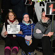 Campaign Against Arms Trade protests against Arms dealers feast while Yemen is starved banking in on the suffering and daying and dead of Yemenis children and babies. Sitin at the Grosvenor House Hotel on 23 Feb 2019, London, UK.