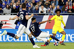 May 15, 2019 - Foxborough, MA, U.S. - FOXBOROUGH, MA - MAY 15: New England Revolution forward Juan Agudelo (17) slides in on Chelsea FC forward Willian (22) during the Final Whistle on Hate match between the New England Revolution and Chelsea Football Club on May 15, 2019, at Gillette Stadium in Foxborough, Massachusetts. (Photo by Fred Kfoury III/Icon Sportswire) (Credit Image: © Fred Kfoury Iii/Icon SMI via ZUMA Press)