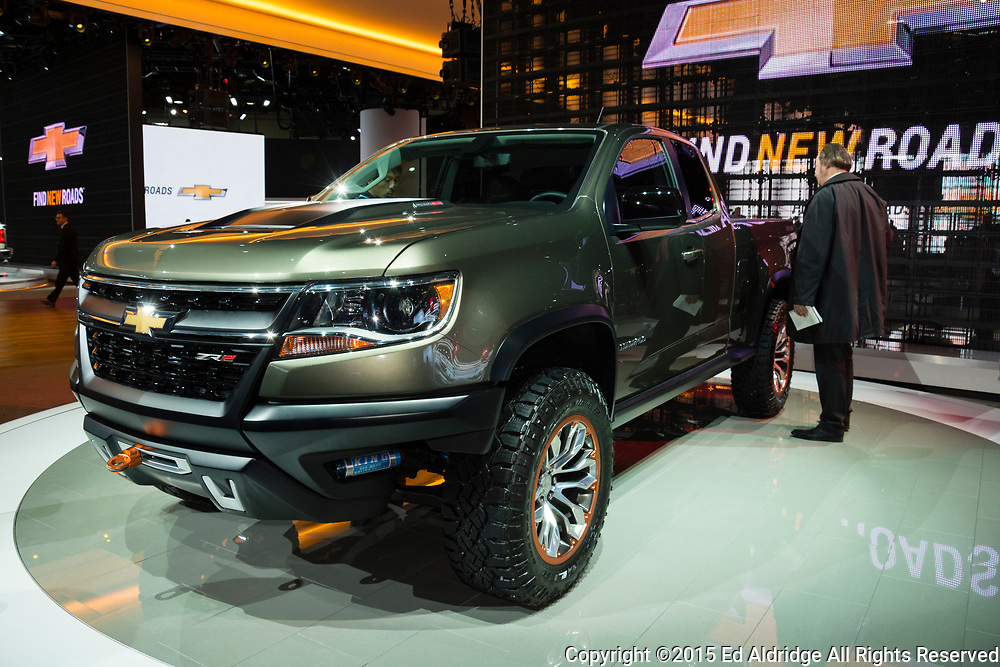 DETROIT, MI, USA - JANUARY 12, 2015: Chevrolet Colorado ZR2 on display during the 2015 Detroit International Auto Show at the COBO Center in downtown Detroit.