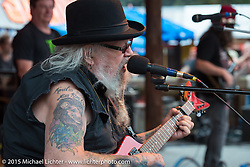 David Allan Coe does his final afternoon free performance at the Iron Horse Saloon during the 2015 Biketoberfest Rally. Ormond Beach, FL, USA. October 18, 2015.  Photography ©2015 Michael Lichter.
