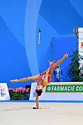 """Agiurgiuculese Alexandra during clubs routine at the International Tournament of rhythmic gymnastics """"Città di Pesaro"""", 03 April,2016. Alexandra is an Italian individualistic gymnast, of Romanian origins, born in Lasi, 15 January, 2001.<br /> This tournament dedicated to the youngest athletes is at the same time of the World Cup."""