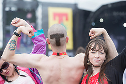 Fans in the main arena. Sunday, 12th July 2015, day three at T in the Park 2015, at its new home at Strathallan Castle.