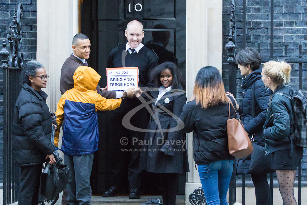 Downing Street, London, November 29th 2016. Family and supporters of democracy activist Andy Tsege, a British national and father of three, who has been held illegally in Ethiopia without charge since 2014 after being abducted, contrary to international law, from an airport in Yemen, deliver a petition to Downing Street asking Foreign Secretary Boris Johnson to intervene. Tsege is facing a death sentence, imposed in absentia in 2009. They were accompanied by  Clive Lewis MP, Shadow Secretary of State for Business, Energy and Industrial Strategy.