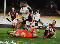 Football - 2020 / 2021 Emirates FA Cup - Round Four - Fulham vs Burnley - Craven Cottage<br /> <br /> Aleksandar Mitrovic of Fulham is foiled by Burnley goalkeeper, Bailey Peacock - Farrell<br /> <br /> COLORSPORT/ANDEW COWIE