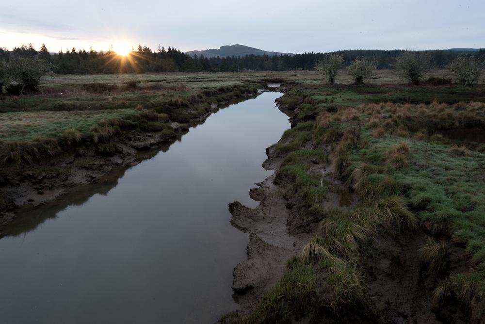 Sunrise on the Tide Slough near Kernville, Oregon
