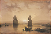 Egypt and Nubia, Volume II: Statues of Memnon at Thebes, during the Inundation, 1848. Louis Haghe (British, 1806-1885), F.G. Moon, 20 Threadneedle Street, London, after David Roberts (British, 1796-1864). Color lithograph