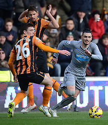 Newcastle United's Remy Cabella competes with Hull City's Andrew Robertson - Photo mandatory by-line: Richard Martin-Roberts/JMP - Mobile: 07966 386802 - 31/01/2015 - SPORT - Football - Hull - KC Stadium - Hull City v Newcastle United - Barclays Premier League