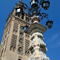 Europe, Spain, Seville. The Cathedral of Seville, Cathedral de Sevilla. View of the Cathedral and La Gironda, the belltower minaret.