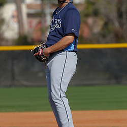 February 20, 2011; Port Charlotte, FL, USA; Tampa Bay Rays relief pitcher Kyle Farnsworth (43) during spring training at Charlotte Sports Park.  Mandatory Credit: Derick E. Hingle