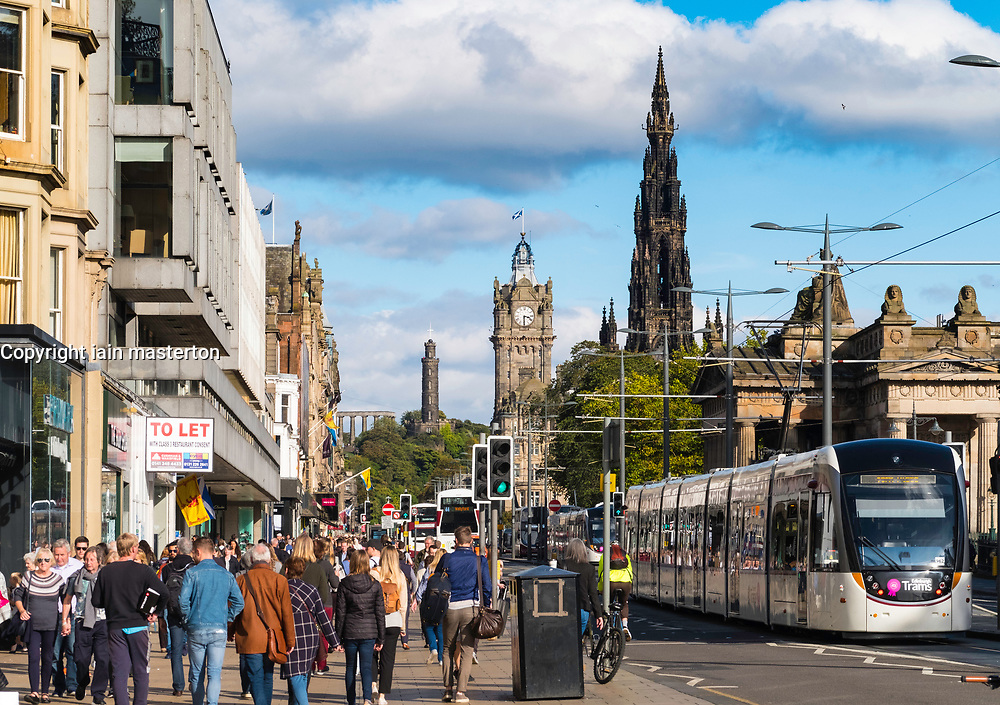 View along busy Princes Street in Edinburgh, Scotland, United Kingdom.