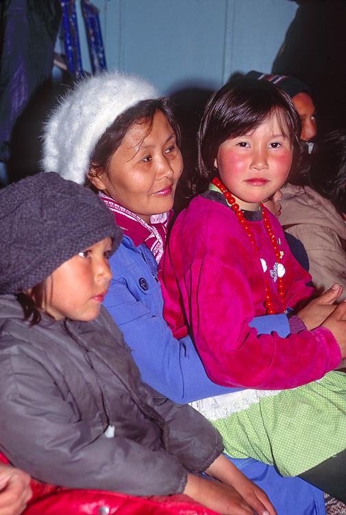 Native family at dance event, Village of Uelen, Chukotsk Peninsula, Northeast Russia, 1992