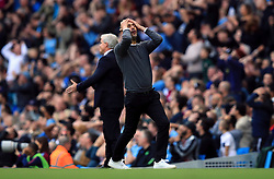 Manchester City manager Pep Guardiola reacts during the Premier League match at Etihad Stadium, Manchester.