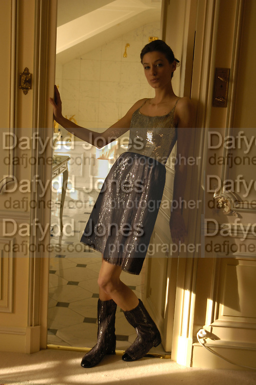 Model wearing Chanel at the Ritz. Paris. 25 January 2006. ONE TIME USE ONLY - DO NOT ARCHIVE  © Copyright Photograph by Dafydd Jones 66 Stockwell Park Rd. London SW9 0DA Tel 020 7733 0108 www.dafjones.com