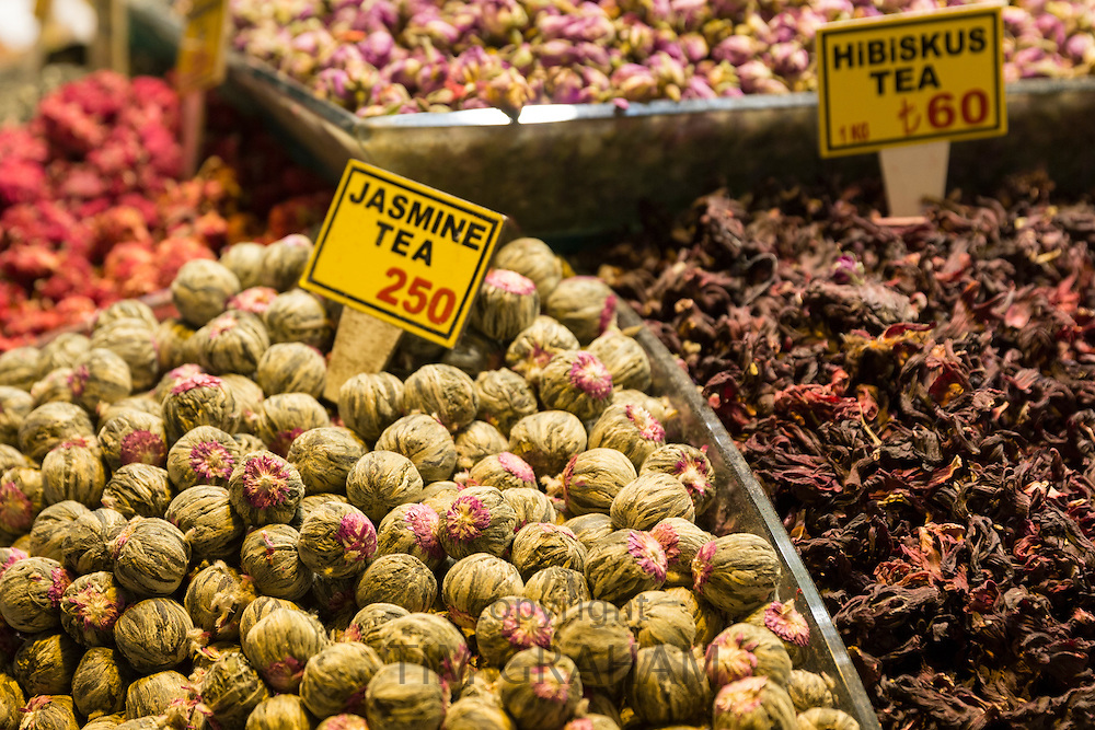 Tea leaves and flowers Jasmine and Hibiscus Turkish lira prices in Misir Carsisi Egyptian Bazaar food market, Istanbul, Turkey