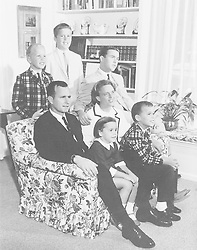 Houston, Texas - Undated file photo -- The George H.W. Bush Family, Houston, Texas, circa 1964. George W. Bush is at center with his arm around his mother, Barbara. Also pictured are Bush children John (Jeb), Neil, Marvin, and Dorothy. Photo by White House via CNP/ABACAPRESS.COM