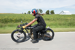 Doug Wothke of Alabama, an experienced long distance rider who has ridden a 1948 Indian Chief around the world as well as a 1962 Panhead chopper around the world, here riding his 1916 Indian during the Motorcycle Cannonball Race of the Century. Stage-4 from Chillicothe, OH to Bloomington, IN. USA. Tuesday September 13, 2016. Photography ©2016 Michael Lichter.