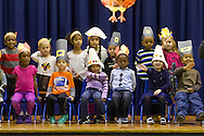 """Middletown, New York - Preschool and pre-K students perform in a """"YMCA Thanksgiving Day Spectacular"""" on the stage at the Center for Youth Programs on Nov. 27, 2013."""