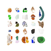 The sea glass hunting around the Welshpool wharf is some of the best I have ever seen. The dark green pieces date to the mid-1800s. <br /> <br /> Jasper beach stone, sea glass, Ten-Ridged Whelk (Neptunea decemcostata), china, bone, brick, Blue Mussel (Mytilus edulis), Waved Whelk (Buccinum undatum), rubber, and industrial ceramic.