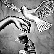 Caracas - Venezuela. A man walks in front of a mural with a dove of peace mural made on the days of violent protests in Venezuela, by a social collective group supporters of the government.