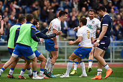 March 17, 2018 - Rome, Italy - Tommaso Allan of Italy celebrates scoring a try during the NatWest 6 Nations Championship match between Italy and Scotland at Stadio Olimpico, Rome, Italy on 17 March 2018. (Credit Image: © Giuseppe Maffia/NurPhoto via ZUMA Press)