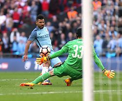 23 April 2017 FA Cup semi-final : Arsenal v Manchester City :<br /> Sergio Aguero scores the opening goal for City.<br /> Photo: Mark Leech