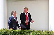 President Donald Trump and King Abdullah II hold a news conference in the Rose Garden on April 5, 2017.<br />Photo by Dennis Brack