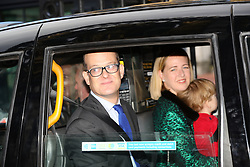 Lord Nicholas Windsor, his wife and son Louis Windsor arriving for the Queen's Christmas lunch at Buckingham Palace, London.