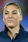 FRISCO, TX - JANUARY 31:  Hope Solo #1 of the U.S. Women's National Team looks on before an international friendly against the Canadian Women's National Team on January 31, 2014 at Toyota Stadium in Frisco, Texas.  (Photo by Cooper Neill/Getty Images) *** Local Caption *** Hope Solo